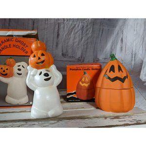 Vtg Ceramic Pumpkin Ghost Porcelain Candle Holder
